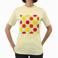 Polka Dots Background Colorful Women s Yellow T Shirt