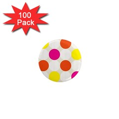 Polka Dots Background Colorful 1  Mini Magnets (100 Pack)