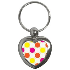 Polka Dots Background Colorful Key Chains (heart)  by Modern2018