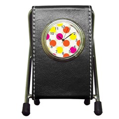 Polka Dots Background Colorful Pen Holder Desk Clocks