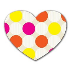 Polka Dots Background Colorful Heart Mousepads
