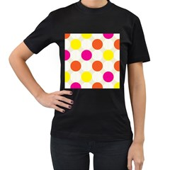 Polka Dots Background Colorful Women s T Shirt (black) by Modern2018