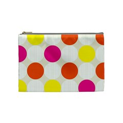 Polka Dots Background Colorful Cosmetic Bag (medium)