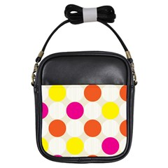 Polka Dots Background Colorful Girls Sling Bags