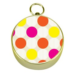 Polka Dots Background Colorful Gold Compasses