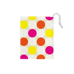 Polka Dots Background Colorful Drawstring Pouches (small)