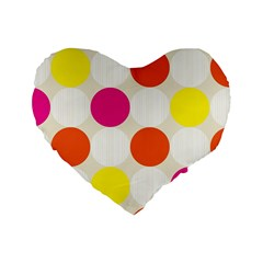 Polka Dots Background Colorful Standard 16  Premium Flano Heart Shape Cushions by Modern2018
