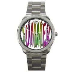 Summer Colorful Rainbow Typography Sport Metal Watch