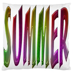 Summer Colorful Rainbow Typography Large Flano Cushion Case (two Sides) by yoursparklingshop