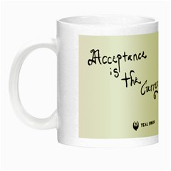 Acceptence Is The Crrency Of Love Quote + Self Love Grid   Glow In The Dark Mug by tealswan