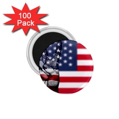 United State Flags With Peace Sign 1 75  Magnets (100 Pack)  by goodart