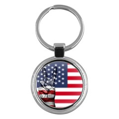 United State Flags With Peace Sign Key Chains (round)