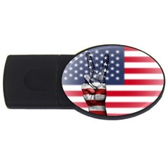 United State Flags With Peace Sign Usb Flash Drive Oval (4 Gb)
