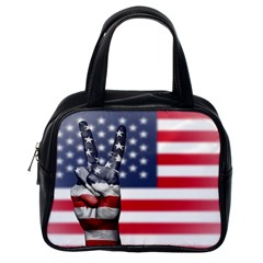 United State Flags With Peace Sign Classic Handbags (one Side)