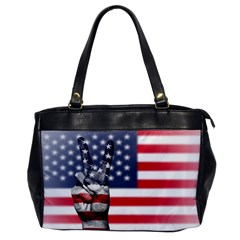United State Flags With Peace Sign Office Handbags
