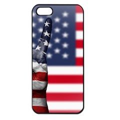 United State Flags With Peace Sign Apple Iphone 5 Seamless Case (black)