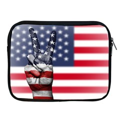 United State Flags With Peace Sign Apple Ipad 2/3/4 Zipper Cases