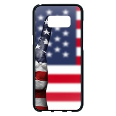 United State Flags With Peace Sign Samsung Galaxy S8 Plus Black Seamless Case