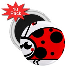 Lady Bug Clip Art Drawing 2 25  Magnets (10 Pack)