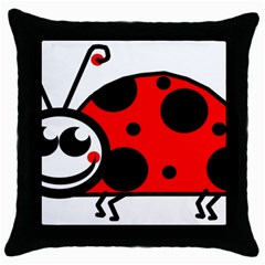 Lady Bug Clip Art Drawing Throw Pillow Case (black)