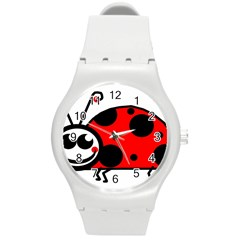 Lady Bug Clip Art Drawing Round Plastic Sport Watch (m)