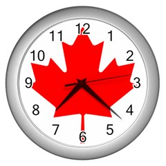Flag Of Canada Wall Clocks (silver)  by goodart