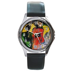 Road To The Mountains Round Metal Watch by bestdesignintheworld