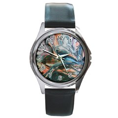 Night Lillies Round Metal Watch by bestdesignintheworld