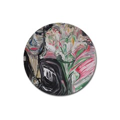 Lady With Lillies Magnet 3  (round)