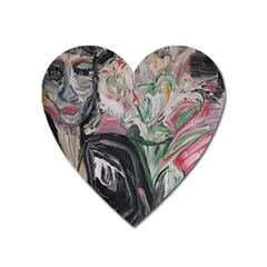 Lady With Lillies Heart Magnet by bestdesignintheworld