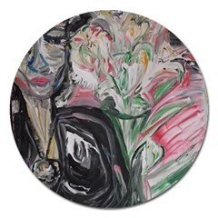 Lady With Lillies Magnet 5  (round)