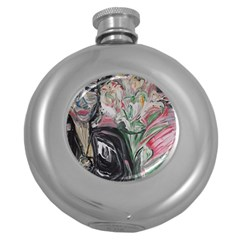 Lady With Lillies Round Hip Flask (5 Oz)