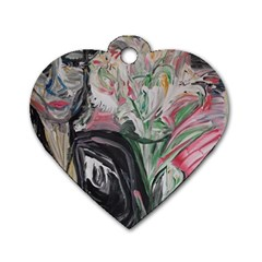 Lady With Lillies Dog Tag Heart (one Side)