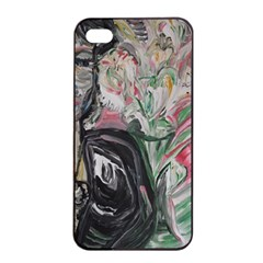Lady With Lillies Apple Iphone 4/4s Seamless Case (black) by bestdesignintheworld