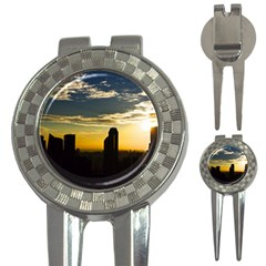 Skyline Sunset Buildings Cityscape 3 In 1 Golf Divots