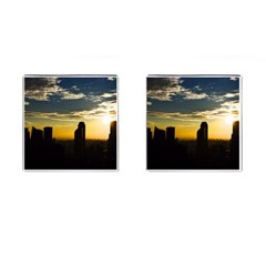 Skyline Sunset Buildings Cityscape Cufflinks (square)