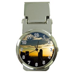 Skyline Sunset Buildings Cityscape Money Clip Watches by Simbadda