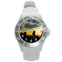 Skyline Sunset Buildings Cityscape Round Plastic Sport Watch (l)