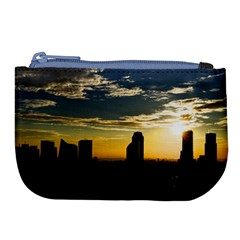 Skyline Sunset Buildings Cityscape Large Coin Purse