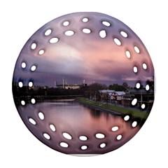 Sunset Melbourne Yarra River Ornament (round Filigree)