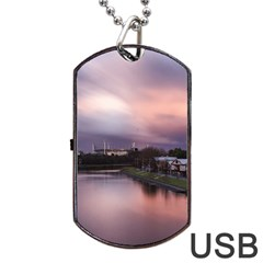 Sunset Melbourne Yarra River Dog Tag Usb Flash (one Side) by Simbadda
