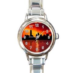 Skyline New York City Sunset Dusk Round Italian Charm Watch