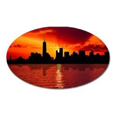 Skyline New York City Sunset Dusk Oval Magnet