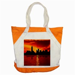 Skyline New York City Sunset Dusk Accent Tote Bag by Simbadda