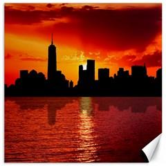 Skyline New York City Sunset Dusk Canvas 16  X 16