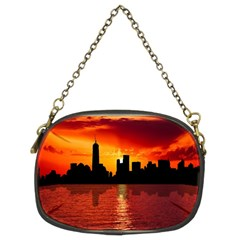 Skyline New York City Sunset Dusk Chain Purses (two Sides)