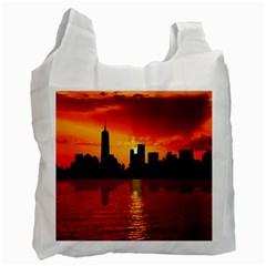 Skyline New York City Sunset Dusk Recycle Bag (one Side)