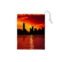 Skyline New York City Sunset Dusk Drawstring Pouches (small)