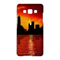 Skyline New York City Sunset Dusk Samsung Galaxy A5 Hardshell Case  by Simbadda