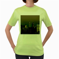 Skyline City Manhattan New York Women s Green T Shirt